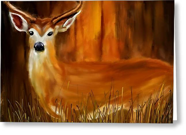 Red Deer Greeting Cards - Vigilant Greeting Card by Lourry Legarde