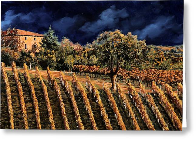 Vineyards Paintings Greeting Cards - Vigne Orizzontali Greeting Card by Guido Borelli