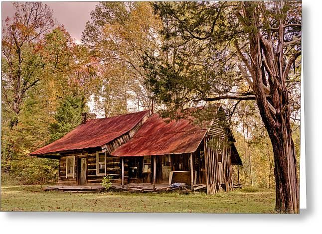 Viintage Cabin Greeting Card by Debra and Dave Vanderlaan