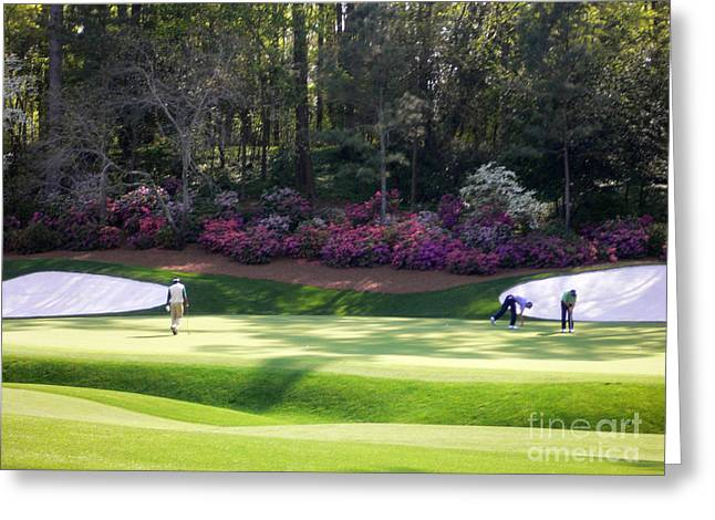 Golf Tournaments Greeting Cards - Vijay at Augusta Greeting Card by David Bearden