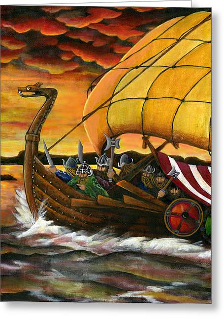 Viking Assault Greeting Card by Diana Lehr