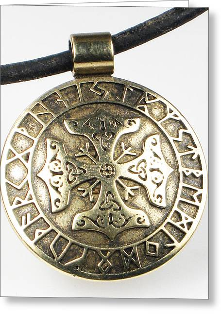 Cross Jewelry Greeting Cards - Viking Celtic Cross with Rune Calendar Greeting Card by Virginia Vivier -  Esprit Mystique