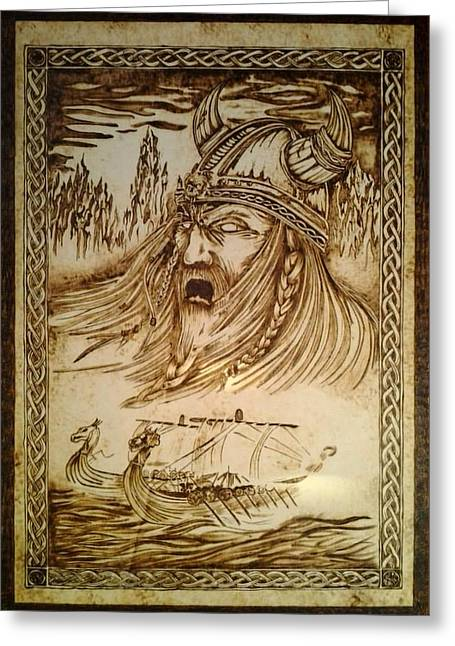 Ghosts Pyrography Greeting Cards - Viking Ghost Greeting Card by G S