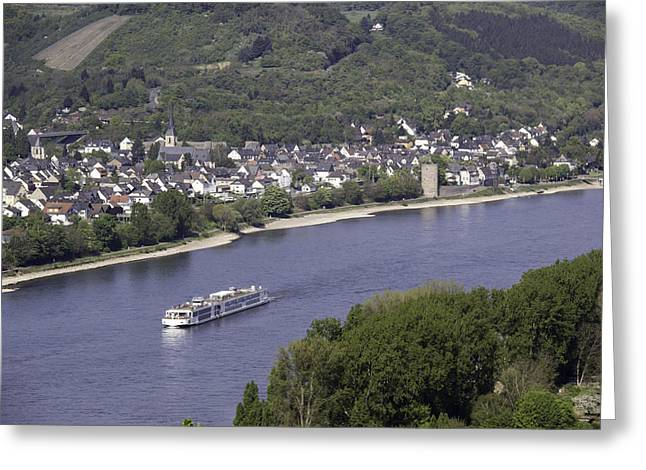 Defensive Greeting Cards - Viking Ingvi Cruising the Rhine in Braubach Greeting Card by Teresa Mucha