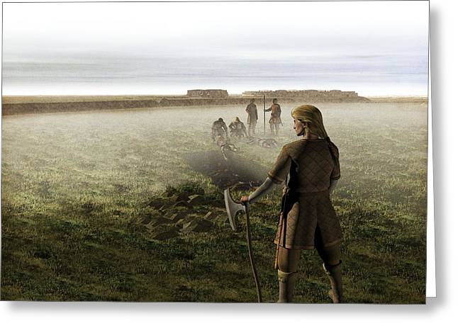 Body Mass Greeting Cards - Viking mass grave, artwork Greeting Card by Science Photo Library