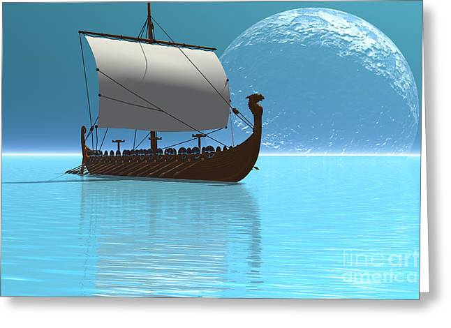 Recently Sold -  - Ocean. Reflection Greeting Cards - Viking Ship 2 Greeting Card by Corey Ford