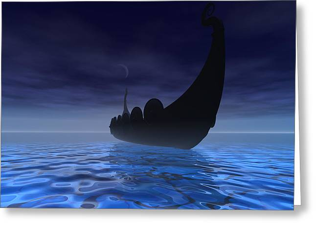 Scandinavian Greeting Cards - Viking Ship Greeting Card by Corey Ford