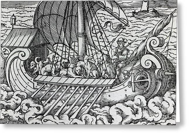 Seascape Drawings Greeting Cards - Viking Ship Greeting Card by German School