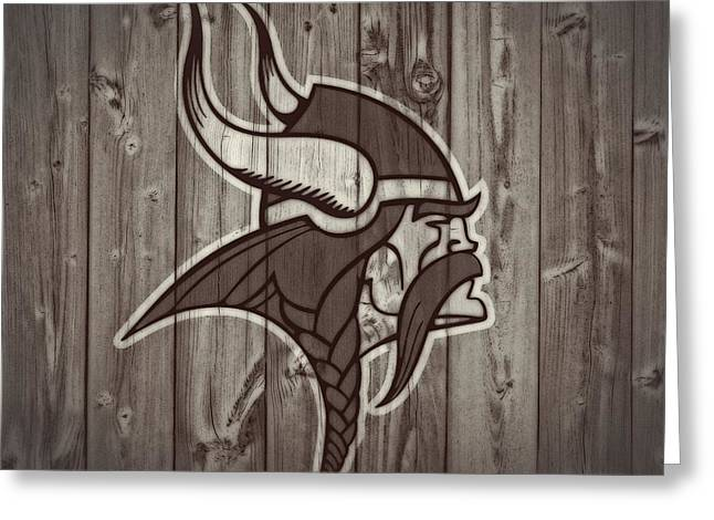 Offense Mixed Media Greeting Cards - Vikings Barn Door Greeting Card by Dan Sproul