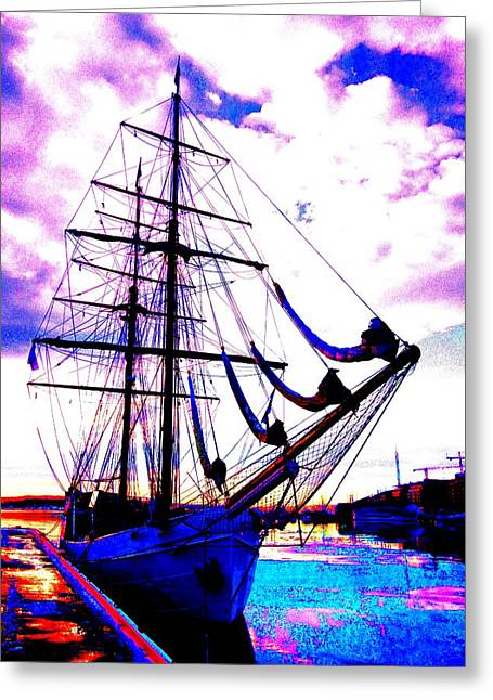 Sweating Greeting Cards - Vikings Go Sailing  Greeting Card by Hilde Widerberg