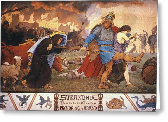 Vikings Plundering A Monastery Greeting Card by Granger