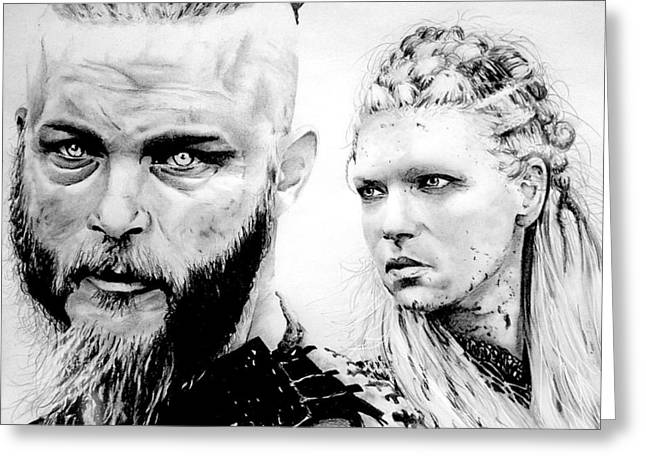 Vikings Ragnar And Lagertha Greeting Card by Mike Sarda