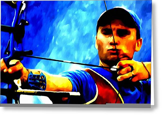 Forties Paintings Greeting Cards - Viktor Ruban archery Greeting Card by Lanjee Chee