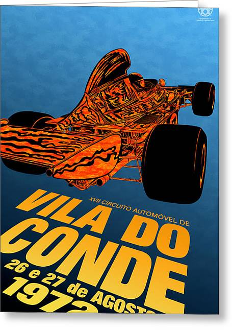 Icon Reproductions Greeting Cards - Vila do Conde Portugal 1972 Grand Prix Greeting Card by Nomad Art And  Design