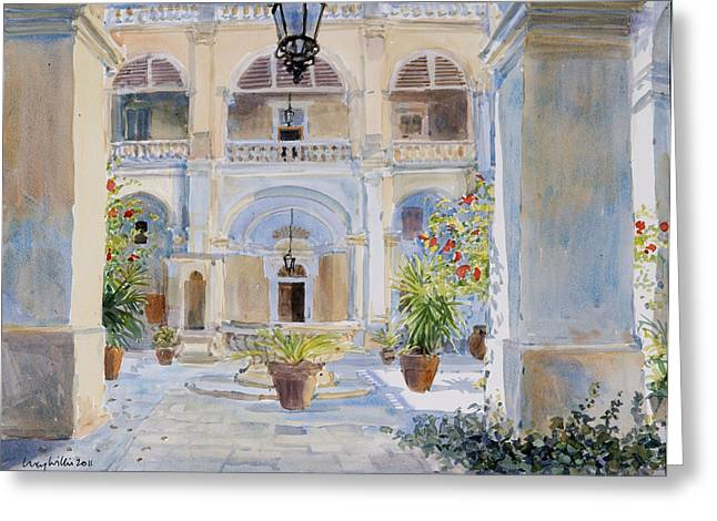 Maltese Photographs Greeting Cards - Vilhena Palace, 2011 Wc On Paper Greeting Card by Lucy Willis