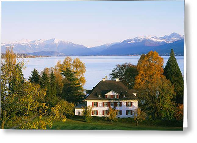 Zurich Greeting Cards - Villa At The Waterfront, Lake Zurich Greeting Card by Panoramic Images