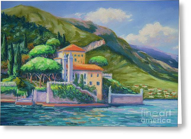 Italian Lake Greeting Cards - Villa Balbianello Lake Como Greeting Card by John Clark