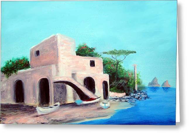 Villa Capri Greeting Card by Larry Cirigliano