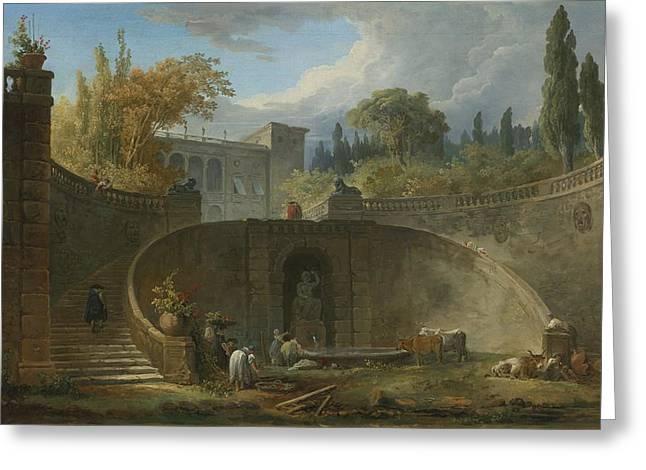 Robert; Hubert (1733-1808) Greeting Cards - Villa Farnese With Gardens At Caprarola Greeting Card by Hubert Robert