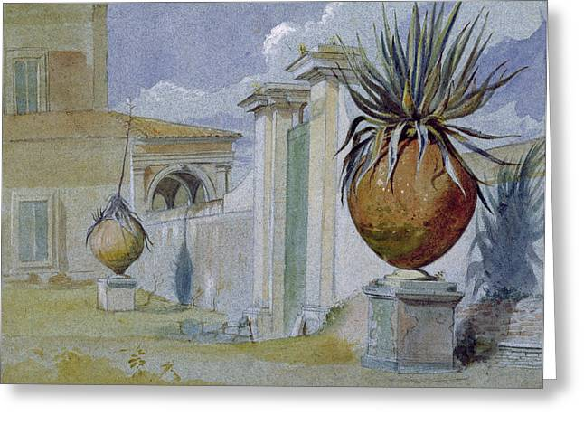 Villa Massimi, Rome Wc & Bodycolour On Paper Greeting Card by Harry John Johnson
