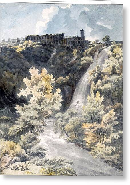Italian Landscapes Drawings Greeting Cards - Villa Of Maecenas, Tivoli Greeting Card by J.W. Smith