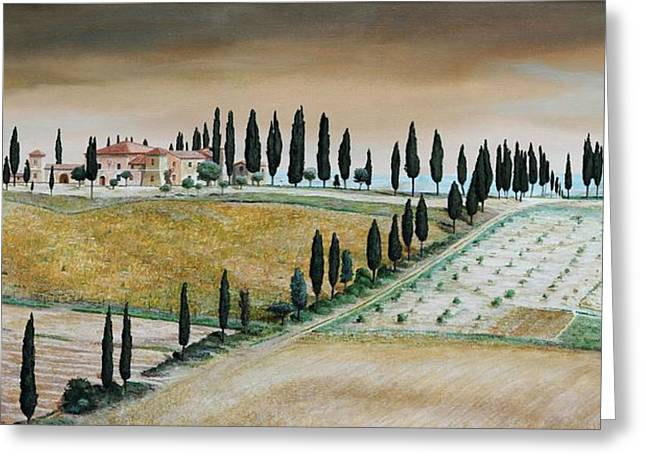 Italian Landscapes Greeting Cards - Villa On Hill, Tuscany, 2001 Oil On Canvas Greeting Card by Trevor Neal