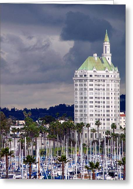 Buildings In The Harbor Greeting Cards - Villa Riviera Long Beach Greeting Card by Jeff Lowe