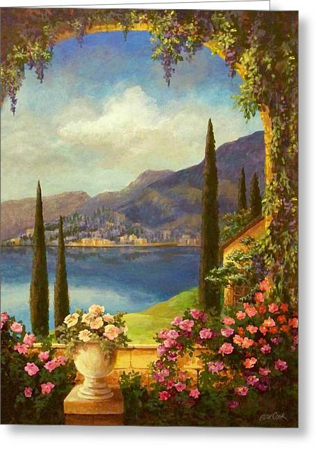 Italian Lake Greeting Cards - Villa Rosa Greeting Card by Evie Cook