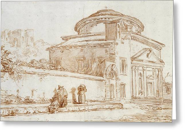 Cupola Photographs Greeting Cards - Villa Sacchetti, Rome Red Chalk On Paper Greeting Card by Hubert Robert