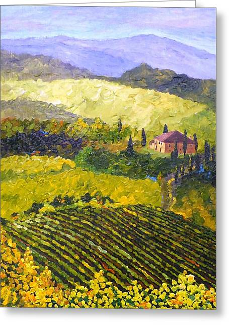 Chianti Greeting Cards - Villa Toscana Greeting Card by Diane Arlitt