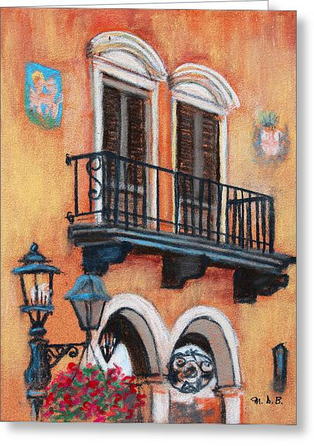 Iron Pastels Greeting Cards - Villa Wall Greeting Card by M Diane Bonaparte