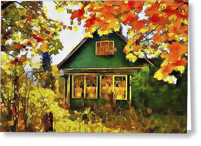 Abstract Style Greeting Cards - Village at Fall Greeting Card by Yury Malkov