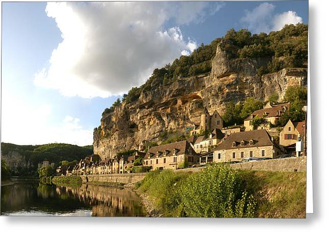 Dordogne Greeting Cards - Village At The Waterfront, La Greeting Card by Panoramic Images