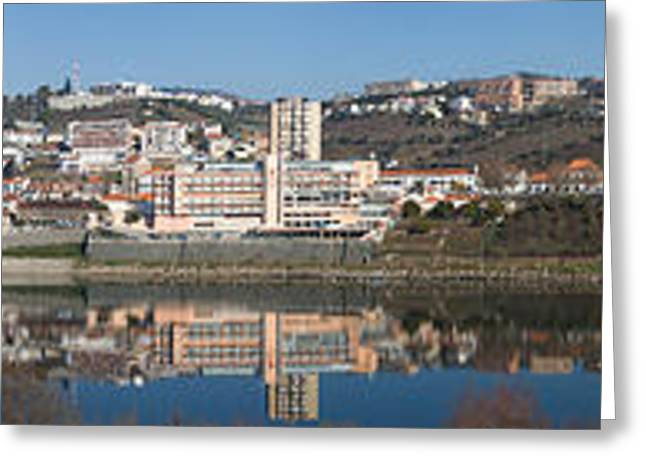 Alto Greeting Cards - Village At The Waterfront, Regua, Alto Greeting Card by Panoramic Images
