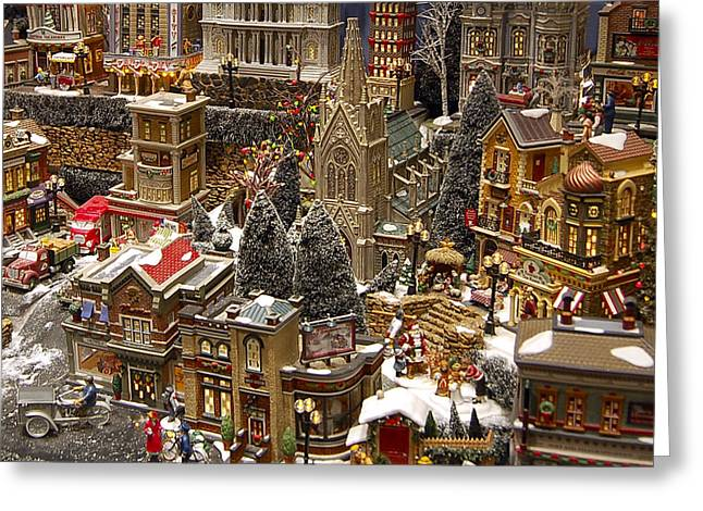 Village Christmas Scene Greeting Card by Jon Berghoff