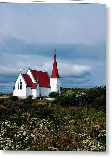 Shower Curtain Greeting Cards - Village Church Greeting Card by Kathleen Struckle