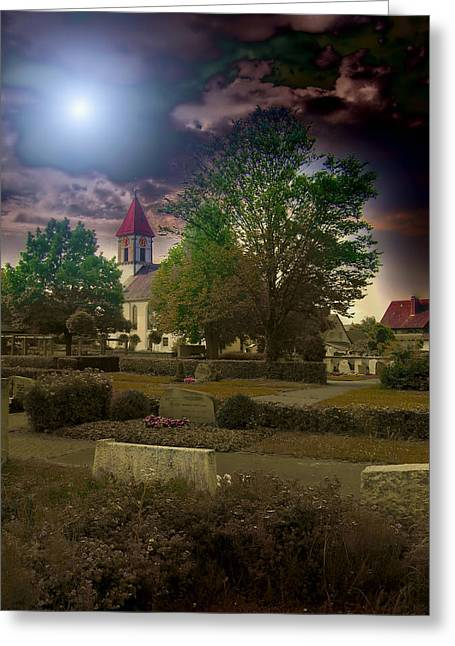 Headstones Greeting Cards - Village Church Greeting Card by Mountain Dreams