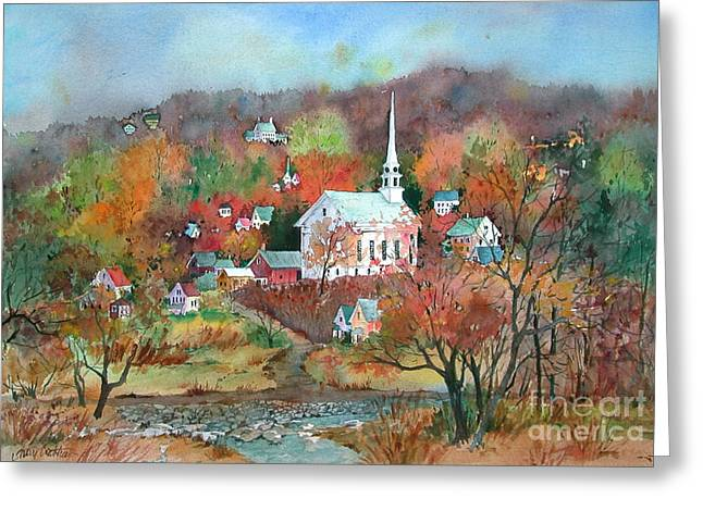 New England Village Paintings Greeting Cards - Village Church Greeting Card by Sherri Crabtree