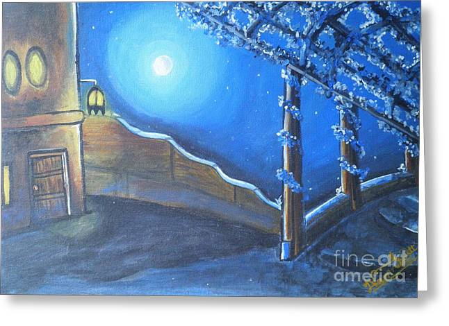 Night Lamp Drawings Greeting Cards - Village Compound Moon Light Greeting Card by Artist Nandika  Dutt