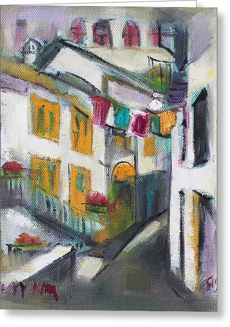 Pallet Knife Greeting Cards - Village Corner Greeting Card by Becky Kim