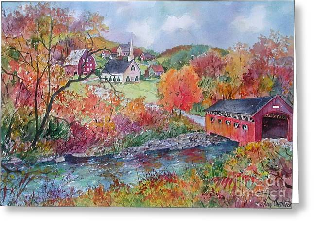 New England Village Paintings Greeting Cards - Village Crossing Greeting Card by Sherri Crabtree