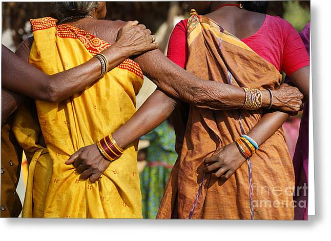 Traditional Dance Greeting Cards - Village dance in Orissa India Greeting Card by Robert Preston