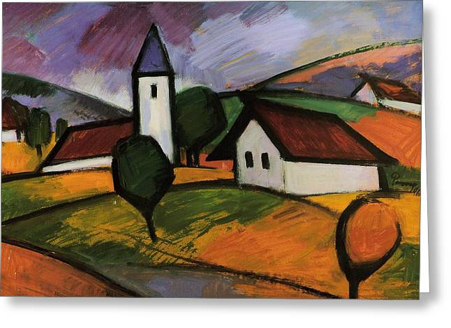 Exploring Paintings Greeting Cards - Village  Greeting Card by Emil Parrag