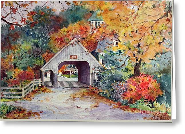 New England Village Paintings Greeting Cards - Village Entrance Greeting Card by Sherri Crabtree