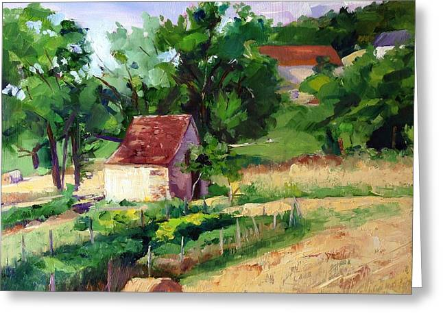 Rolling Hills Of France Greeting Cards - Village Farm France  Greeting Card by Carol Hopper