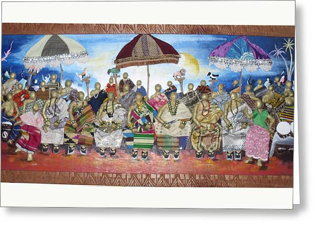 Gathering Mixed Media Greeting Cards - Village Festival Greeting Card by Isaac Bineyson