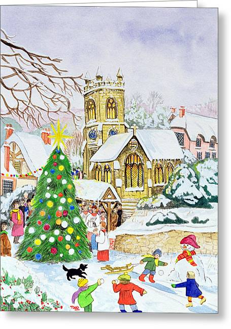 Snowball Fight Greeting Cards - Village Festivities, 2005 Wc On Paper Greeting Card by Tony Todd