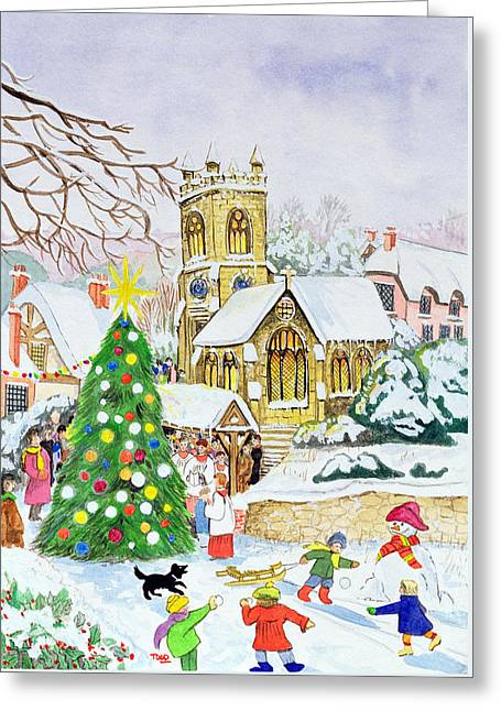 Village Festivities Greeting Card by Tony Todd