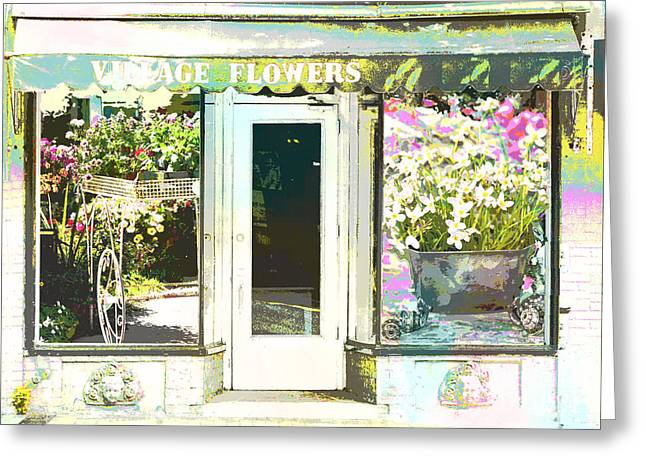 Main Street Mixed Media Greeting Cards - Village Flower Shop  Greeting Card by Adspice Studios
