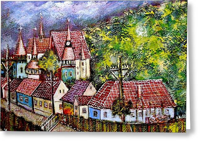 Ion Vincent Danu Greeting Cards - Village from Transylvania Greeting Card by Ion vincent DAnu